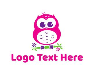 Kindergarten - Cute Pink Owl logo design
