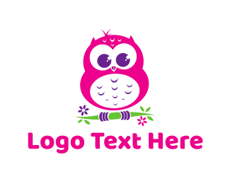 Nursery - Cute Pink Owl logo design