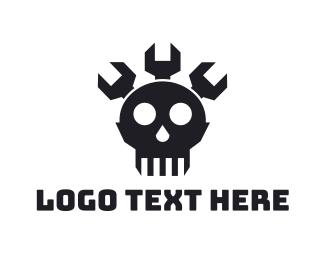 Pirate - Wrench Skull logo design