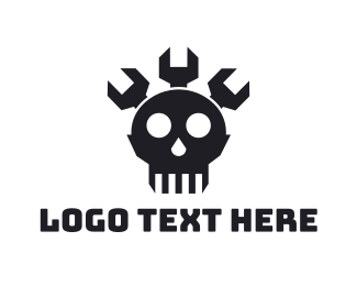 Cranium - Wrench Skull logo design