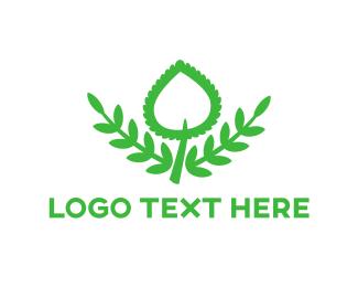 Orchid - Green Spade Leaf logo design