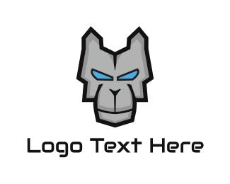 Droid - Metallic Dog logo design