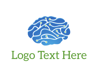 Wise - Circuit Brain logo design