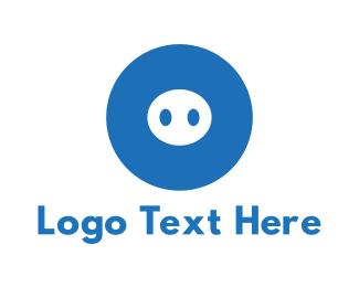 Piglet - Blue Pig logo design
