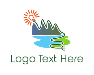 Solar Panel - Natural Energy Plug logo design
