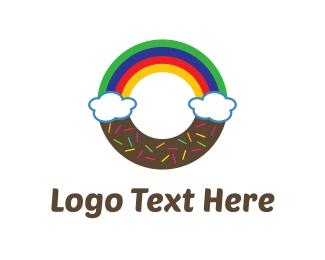 Doughnut - Rainbow Donut logo design