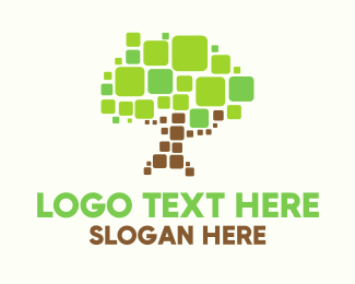 Pieces - Pixel Tree logo design