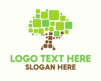 Puzzle - Pixel Tree logo design