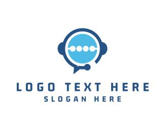 Talk Bubble - Blue Headphones logo design