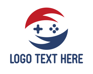 Nintendo - Red Blue Circle Gaming logo design