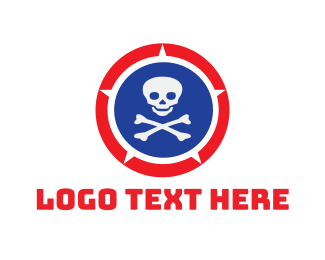 Dangerous - Skull Shield logo design