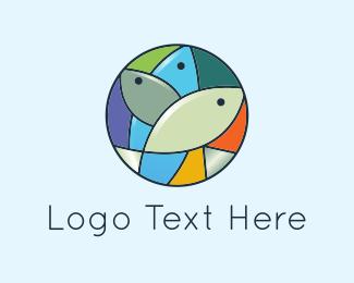 Three - Mosaic Fish logo design