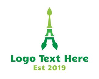 Paris - Abstract Leaf Tower logo design