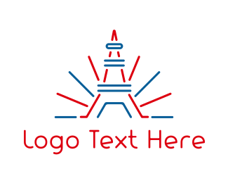 Destination - Red Blue Tower Outline logo design