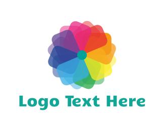 Rainbow - Rainbow Flower logo design