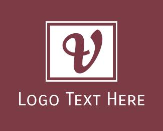 Hotel - Cursive V Emblem logo design