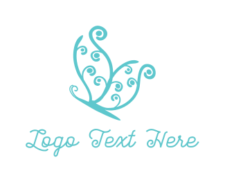 Insect - Blue Butterfly logo design