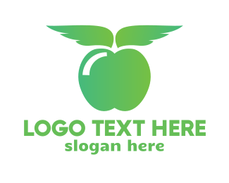 Grocery - Gradient Apple Wing logo design