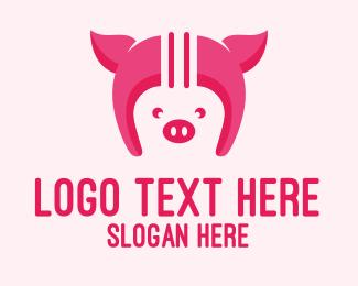 Farming - Pig Helmet logo design
