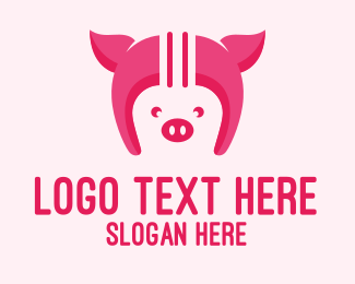 Farm Animal - Pig Helmet logo design