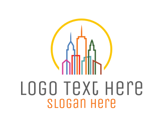 Real Estate - Colorful City logo design
