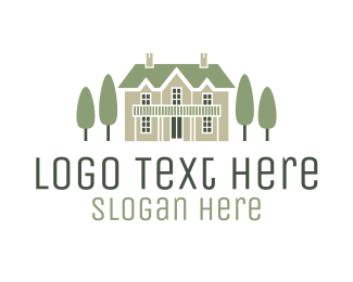 Door - Mansion & Trees logo design