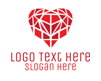Romantic - Heart Mosaic logo design