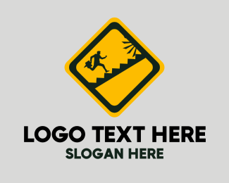 Warning - Running Sign logo design