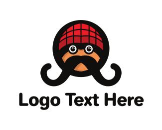 Man - Hipster Moustache logo design