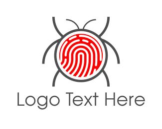 Virus - Fingerprint Bug logo design