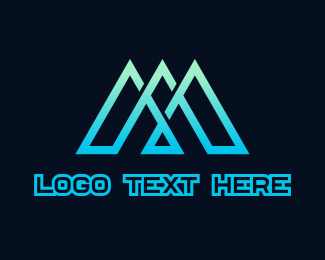 Dark Blue - Blue Triple Triangle logo design