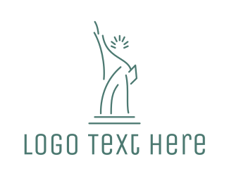 Destination - Lady Liberty Outline logo design