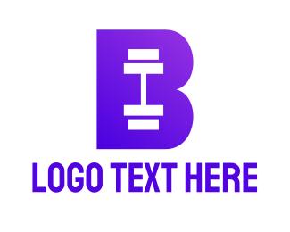 Trainer - Violet Barbell B logo design