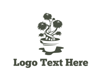 Marijuana - Bonsai Pot logo design