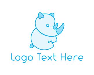 Day Care - Blue Baby Rhino logo design