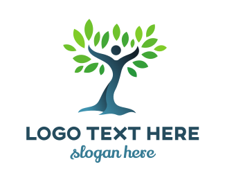 Kindness - Blue Green Dancing Tree logo design