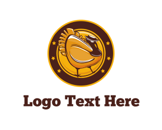 Fowl - Gold Turkey logo design