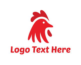 Farm Animal - Red Chicken logo design