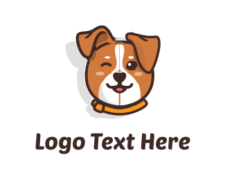 Brown - Cute Dog logo design
