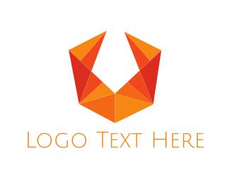 Geometrical - Orange Letter V logo design