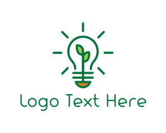 Lighting - Green Bulb logo design