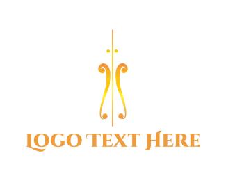 Guitar - Golden Violin logo design