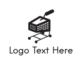 Supermarket - Black Trolley logo design
