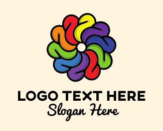 Color - Rainbow Flower logo design
