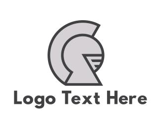 Warrior - Round Knight Helmet logo design