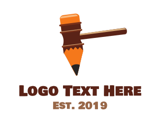 Law - Pen Hammer logo design