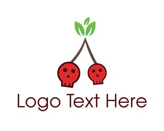Halloween - Cherry Skull logo design