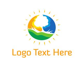 Sun - Sunny Tree  logo design