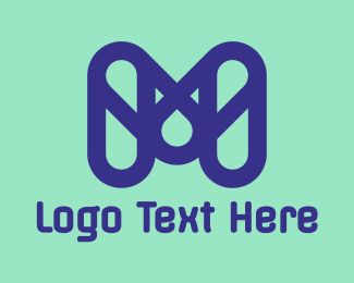 Tablet - Blue Capsule M logo design