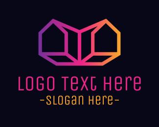 Subdivision - Retro Twin House logo design